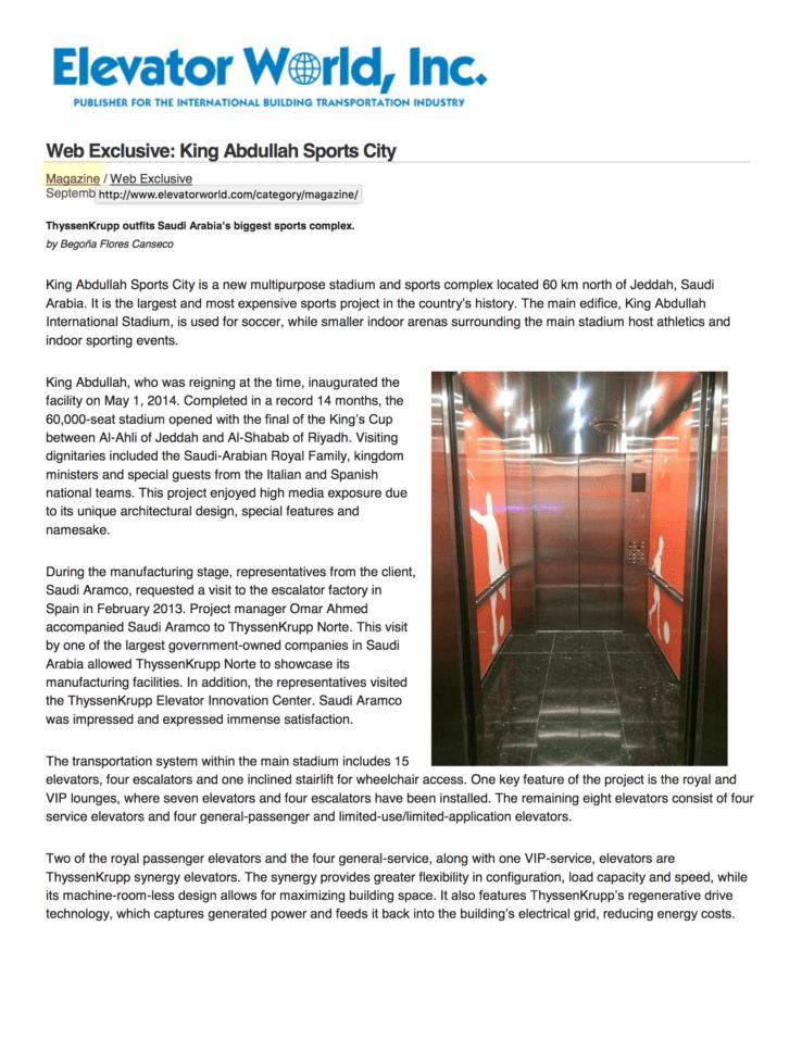 Elevator World Web Exclusive: King Abdullah Sports City (KASC) – G&R