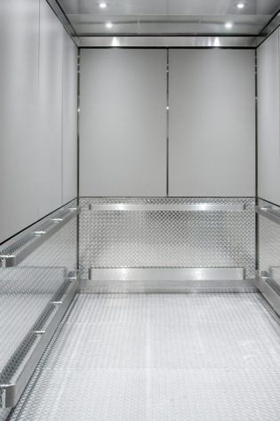 Our popular #GR701e interior design was customized to suit a service elevator anticipated for heavy use at this new hotel.