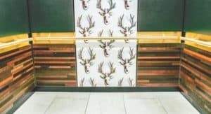 """Keep Austin weird"" inspired the elaborate yet comfortable cab interior design in each with the rear-wall centerpieces featuring printed deer heads on holographic-like vinyl wallpaper made of 5/8"" thick sheets measuring 10.6 inches wide by 17 inches long."