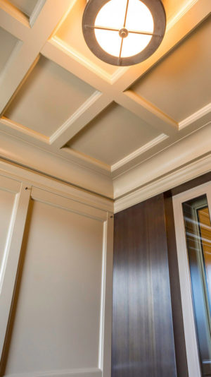 The custom canopies feature coffer ceilings set within crown moldings, with elegant lighting emanating from custom-designed light fixtures mounted at each ceiling's center section.