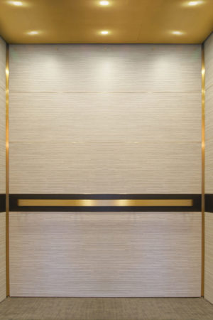 Elevator wall panels in contemporary wall panel configuration, EPIC Solution Elevator Interior System; wall panel design #GR601e. Horizontal wall panels faced with laminate, bronze accent trim, bronze bar-style handrail, and black accent trim behind handrail.