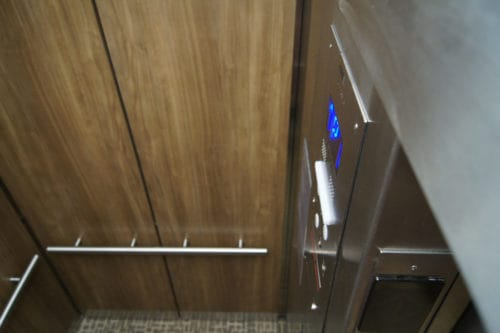 Elevator Cab Modernization Walker Plaza (Wall design #GR501e) | Anoka, MN. © G&R Custom Elevator Cabs, 2352 Station Parkway NW Minneapolis, MN 55304