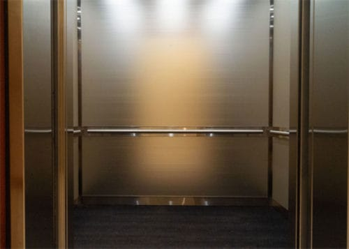 A closer view of the lower section of the elevator at 365 Nicollet, Minneapolis.